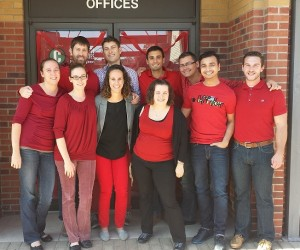 red tshirt staff cropped