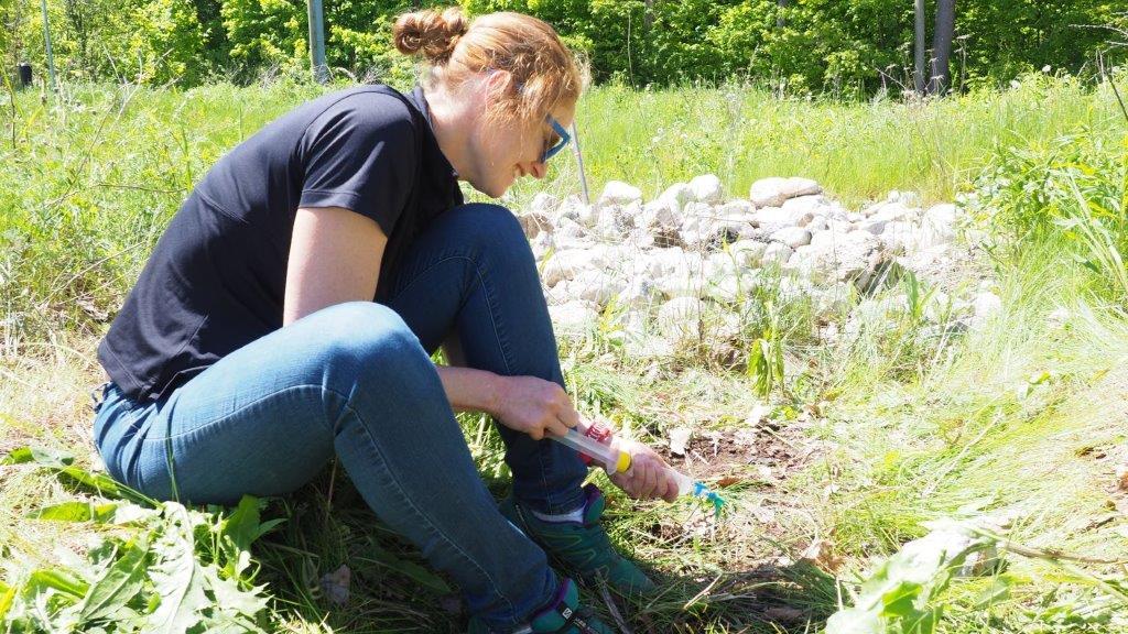 Dr. Clare Robinson retrieving samples