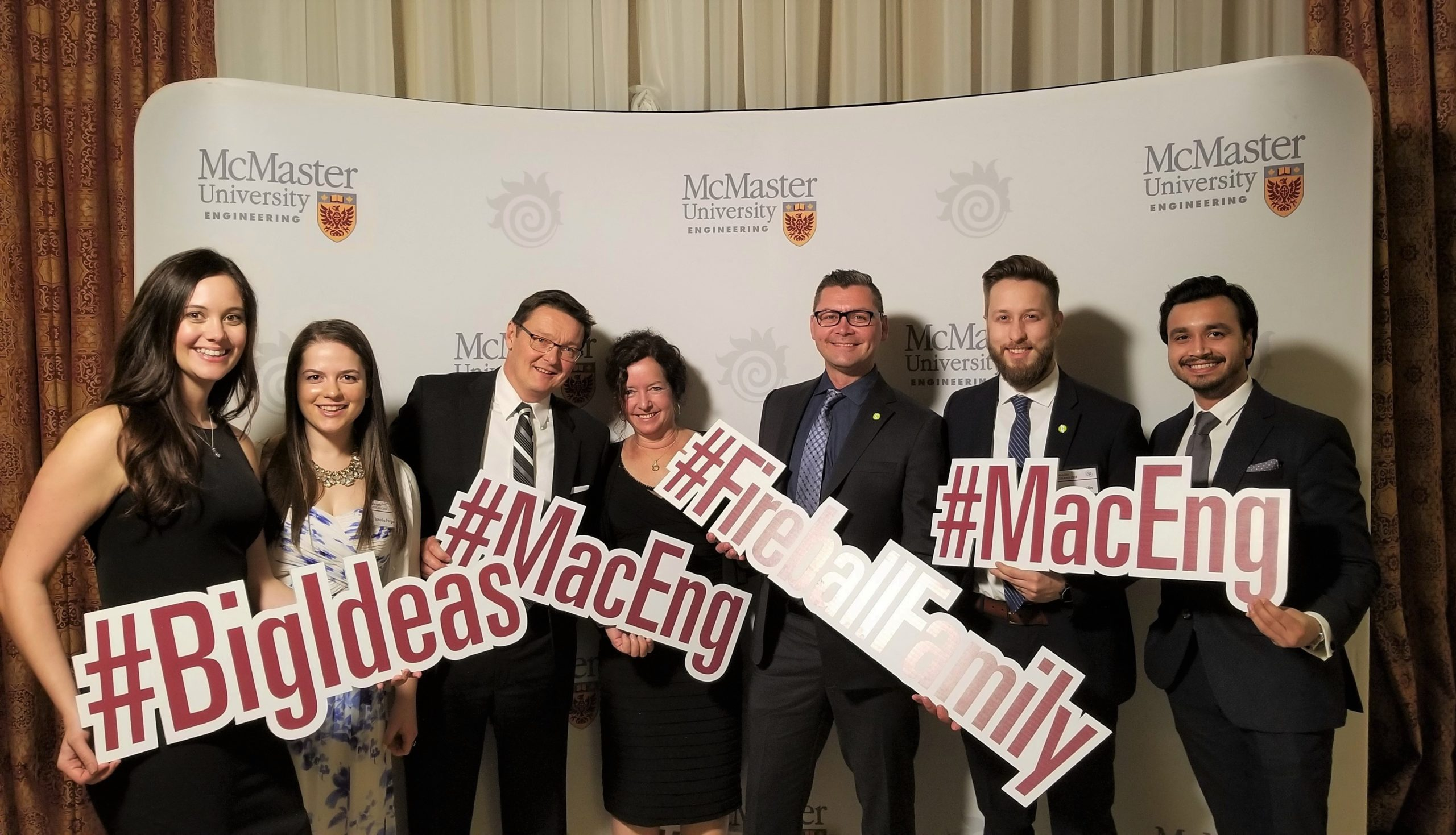 Photo of Crozier staff at McMaster event., Madeleine Fergson, P.Eng., Chris Crozier, P.Eng. (Founder and President), Lisa Crozier, Nick Mocan, M.Sc. (President), P.Eng., Stephen Hamelin, P.Eng., Ashish Shukla, P.Eng.